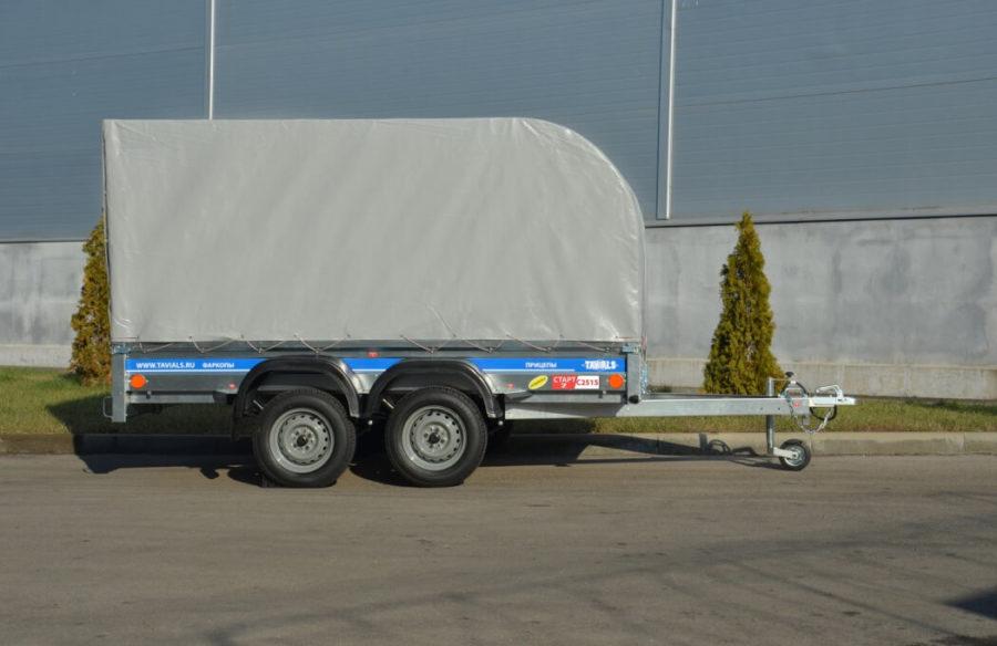 Дуговой тент на двухосном авто прицепе СТАРТ-2 С2515